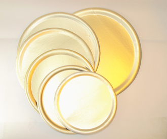 Bandeja cartón redonda linea dorada